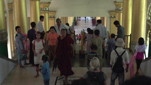 Shwedagon Pagoda, going down with elevator Footage