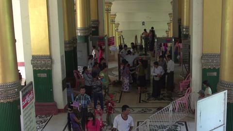 Shwedagon Pagoda, going down with elevator Footage