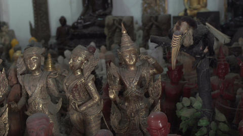 Shwedagon Pagoda, old buddha statues Footage