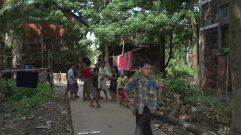 Yangon, children playing in an alley Live Action