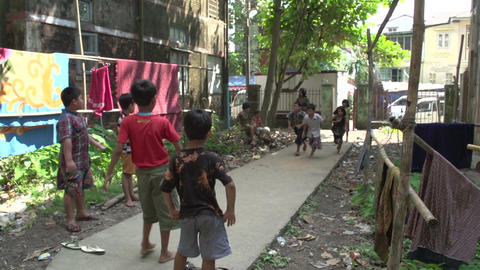 Yangon, children playing in an alley Footage