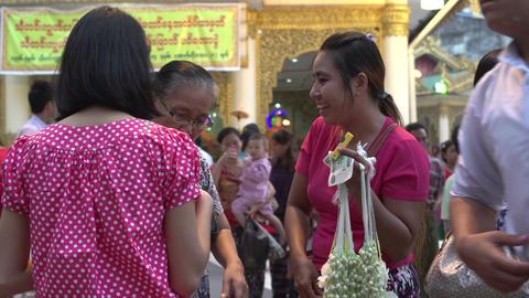 Yangon, entrance Shwe Phone Pwint Pagoda Stock Video Footage