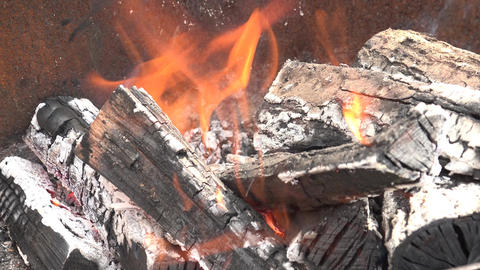 Burning Coal. Close Up Of Red Hot Coals Glowed In The Stove. 4K UltraHD, UHD stock footage