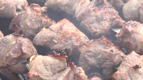 Barbecue With Delicious Grilled Meat On Grill. Barbecue Party. Zooming. 4K Ultra Footage