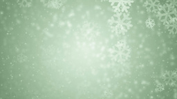 Beautiful green winter background with snowflakes Animation
