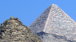 Pyramids of Egypt Showing the Details Against a Blue Sky Live Action