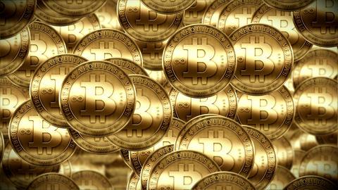 Bitcoin rain, Gold coins fallin down Footage