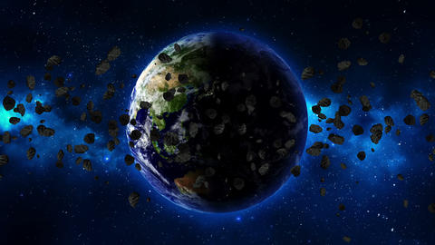 Planet Earth with asteroid in universe or space Footage