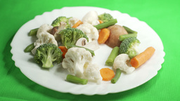 Lunch Vegetarian Dish With Vegetables stock footage