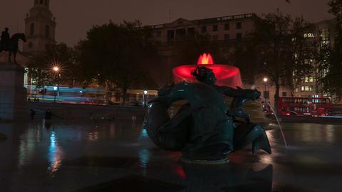 Trafalgar Square Water Fountain Night Timelapse Footage