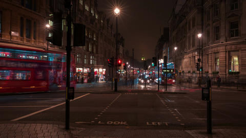 Trafalgar Square - Slow Motion Traffic Night Timelapse Footage