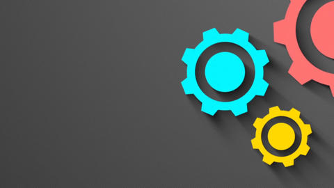 Mechanical Shadow coloured gear animation for intro and logo reveal - 1