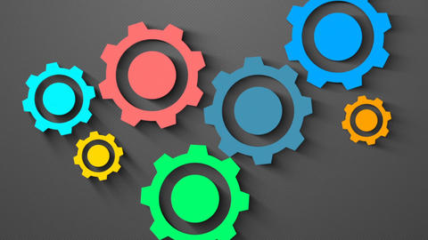 Mechanical Shadow coloured gear animation for intro and logo reveal After Effects Template