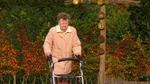 pensioner with wheel walker in autumn park pan tilt 4k 11749 Footage