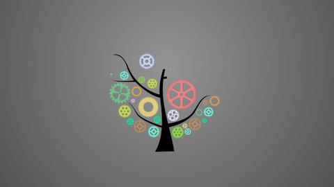 Mechanical gear tree animation for intro and logo reveal After Effects Template