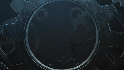 Mechanical rusty metal gears under water animation for intro and logo reveal After Effects Template