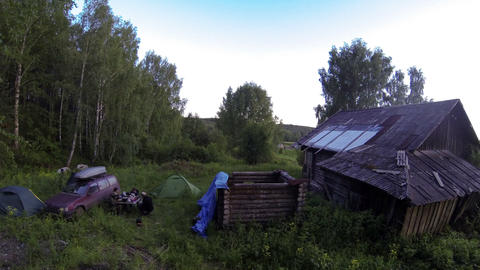 Sunset over the village Babina Gora, Kungurskiy District, Perm Krai, Perm, Russi Footage