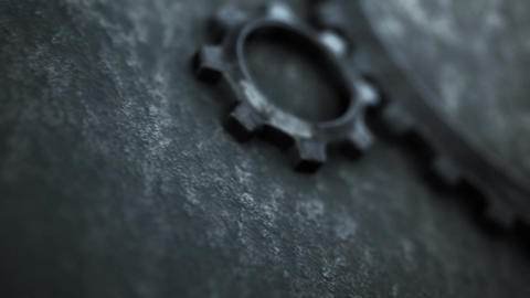 Mechanical rusty metal gear animation for intro and logo reveal - 3
