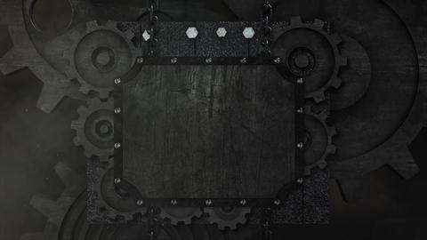 Mechanical Rusty metal gear machine animation for intro and logo reveal After Effects Template