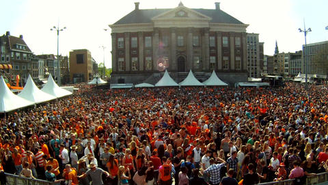 People celebrating Queensday in Groningen, the Netherlands Footage
