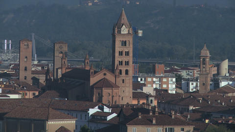 City View Of Alba And His Unique Towers, Italy (1) stock footage