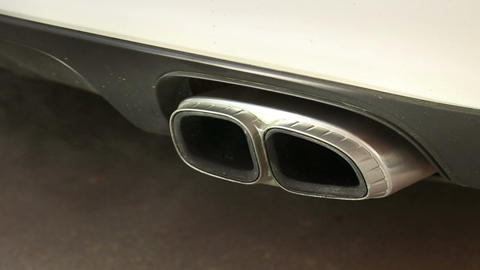 The exhaust gases of the car Live Action