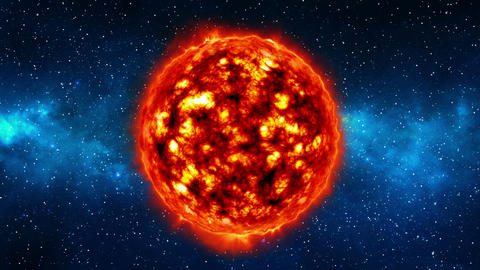 Sun in universe or space, sun and galaxy in a nebula cloud Live Action