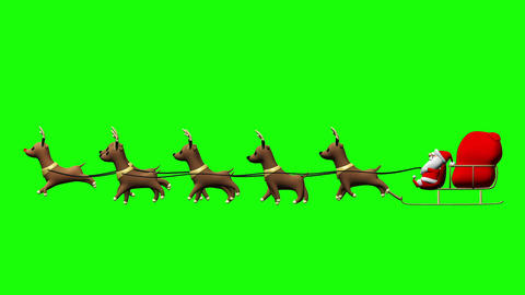 Flying Santa sleigh by reindeer animation design element for Christmas on green  Animation