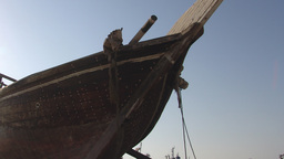 Old Asian Fishing Boat Stored On Dry Land stock footage