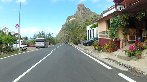Driving Through a Small Town on Tenerife Footage