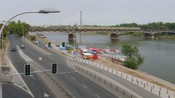 Warsaw, Poland. Vistula river and trains on a bridge Footage
