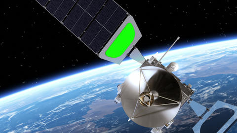 Satellite Deploys Solar Panels. Transition. Green Screen Animation