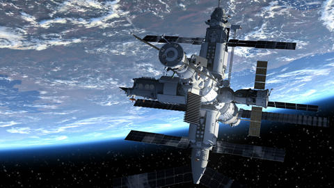 Flight Of The Space Station Above The Earth. 3D Animation Animation
