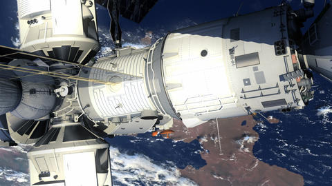 Space Station And Space Shuttle Orbiting Earth Stock Video Footage