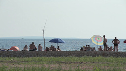 Seaside Beach Seaside Horizon Long Shot People 1 stock footage