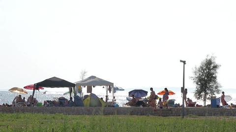 Seaside Beach Seaside Horizon Long Shot People 3 Live Action