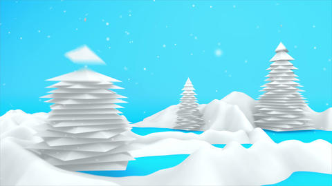 Winter Landscape 3D Scene Motion Graphics 4K Animation