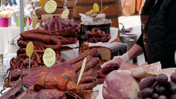 Open air food market. Sausage and meats 3 Footage
