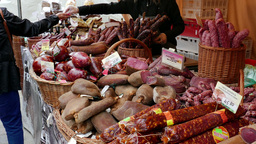 Open air food market. People buying meats Footage