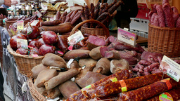 Open Air Food Market. Customer Is Buying Meats stock footage