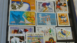 Olympic games - an international stamp collection. Hobby. Philately Footage