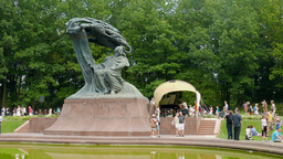 Monument of Frederic Chopin in Lazienki Park. Largest park in Warsaw, Poland Footage