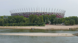 The National Stadium building and Vistula river. Warsaw, Poland Footage