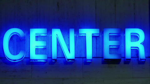 """Neon sign """"Centre"""" Footage"""