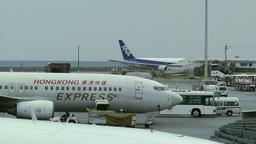 Okinawa Naha Airport 15 hong kong cargo and ana Stock Video Footage