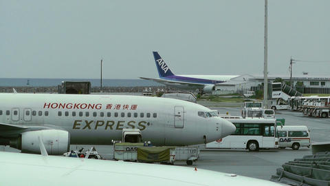 Okinawa Naha Airport 15 hong kong cargo and ana Stock Video Footage