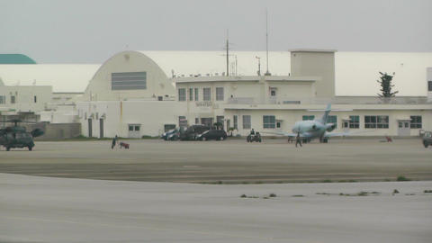 Okinawa Naha Airport Japanese Military Units in stanby... Stock Video Footage