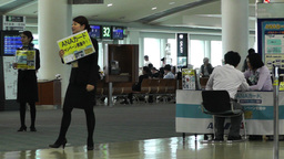 Okinawa Naha Airport Terminal 02 handheld Stock Video Footage