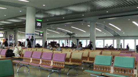 Okinawa Naha Airport Terminal 04 60fps native slowmotion Stock Video Footage