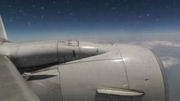 View at Airplane Engine through Icy Window 01 handheld Stock Video Footage